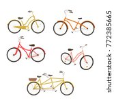 retro bycicles set. vector... | Shutterstock .eps vector #772385665