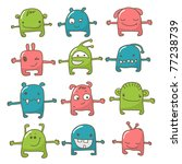 collection of 12 cute monsters... | Shutterstock .eps vector #77238739