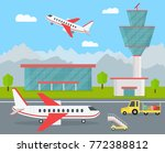 cartoon color airport terminal... | Shutterstock .eps vector #772388812