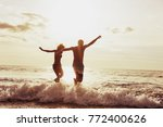 happy couple having fun and... | Shutterstock . vector #772400626
