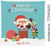 vintage christmas poster design ... | Shutterstock .eps vector #772401622