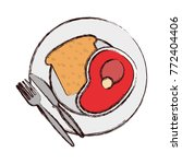 plate with  bread an meat... | Shutterstock .eps vector #772404406
