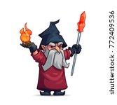 old wizard or sorcerer cartoon... | Shutterstock .eps vector #772409536