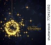 golden christmas balls made... | Shutterstock .eps vector #772411552