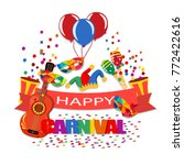 happy carnival. a tape with an...   Shutterstock .eps vector #772422616