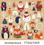 christmas collection with cute... | Shutterstock .eps vector #772427455
