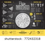 vintage chalk drawing pizza... | Shutterstock .eps vector #772432318