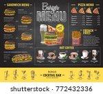 vintage chalk drawing burger... | Shutterstock .eps vector #772432336
