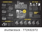 vintage chalk drawing burger...   Shutterstock .eps vector #772432372