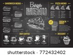 vintage chalk drawing burger... | Shutterstock .eps vector #772432402