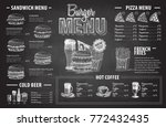 vintage chalk drawing burger... | Shutterstock .eps vector #772432435