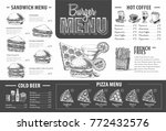 vintage burger menu design.... | Shutterstock .eps vector #772432576
