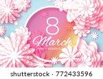 pink pastel paper cut flower. 8 ... | Shutterstock . vector #772433596