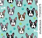 cute dog face cartoon seamless... | Shutterstock .eps vector #772435375