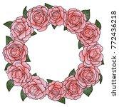 camellia round frame | Shutterstock .eps vector #772436218