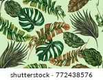 tropical jungle leaves  palms ... | Shutterstock .eps vector #772438576