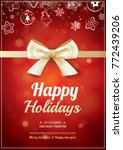 merry christmas party and gold... | Shutterstock .eps vector #772439206