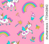 seamless pattern with cute... | Shutterstock .eps vector #772442842