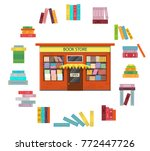 bookstore. vintage shop with a... | Shutterstock .eps vector #772447726