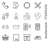 thin line icon set   phone ... | Shutterstock .eps vector #772451242