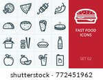 fast food icons set. collection ... | Shutterstock .eps vector #772451962