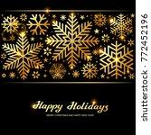sparkling golden snowflakes ... | Shutterstock .eps vector #772452196