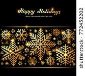 sparkling golden snowflakes ... | Shutterstock .eps vector #772452202