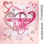 valentines day party invitation ... | Shutterstock .eps vector #772458532