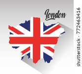 london map with england flag... | Shutterstock .eps vector #772463416