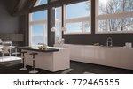 modern kitchen in classic villa ... | Shutterstock . vector #772465555