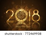 vector   2018 happy new year... | Shutterstock .eps vector #772469938