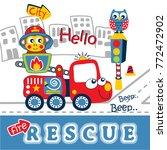 fire rescue team funny cartoon...   Shutterstock .eps vector #772472902
