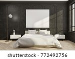 black bedroom interior with a... | Shutterstock . vector #772492756