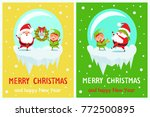 postcard merry christmas happy... | Shutterstock .eps vector #772500895