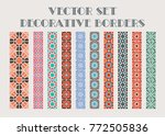 Stock vector design elements and page decoration vector set of color mosaic borders 772505836