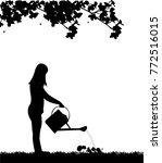 woman gardener watering flowers ... | Shutterstock .eps vector #772516015