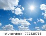 sun on blue sky backgrounds | Shutterstock . vector #772525795