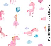seamless pattern with cute... | Shutterstock . vector #772526242