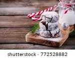 chocolate crinkle cookies with... | Shutterstock . vector #772528882