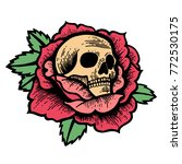 old school rose tattoo with... | Shutterstock .eps vector #772530175