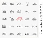transportation line icons set | Shutterstock .eps vector #772531612