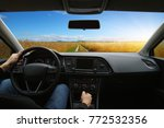 the man inside the car is... | Shutterstock . vector #772532356