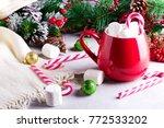 Red Mug With Marshmellows And...