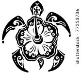 tribal tattoo turtle and flower ... | Shutterstock .eps vector #77253736