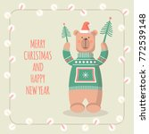 christmas cards with funny... | Shutterstock .eps vector #772539148