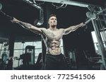 brutal handsome caucasian... | Shutterstock . vector #772541506