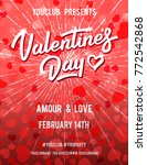 valentines day poster. red... | Shutterstock .eps vector #772542868