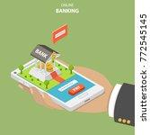 online banking flat isometric... | Shutterstock .eps vector #772545145