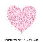 pink glitter heart frame ... | Shutterstock .eps vector #772548985