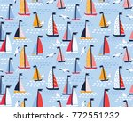 seamless vector pattern with... | Shutterstock .eps vector #772551232